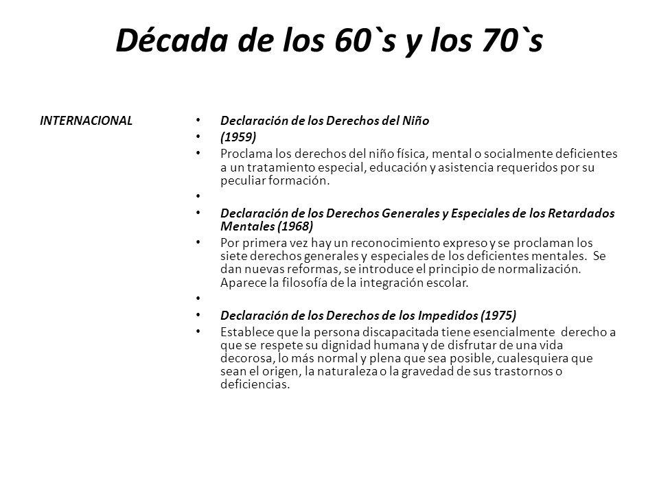 Década de los 60`s y los 70`s INTERNACIONAL Declaración de los Derechos del Niño (1959) Proclama los derechos del niño física, mental o socialmente de