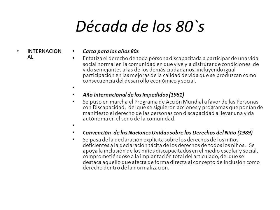 Década de los 80`s INTERNACION AL Carta para los años 80s Enfatiza el derecho de toda persona discapacitada a participar de una vida social normal en