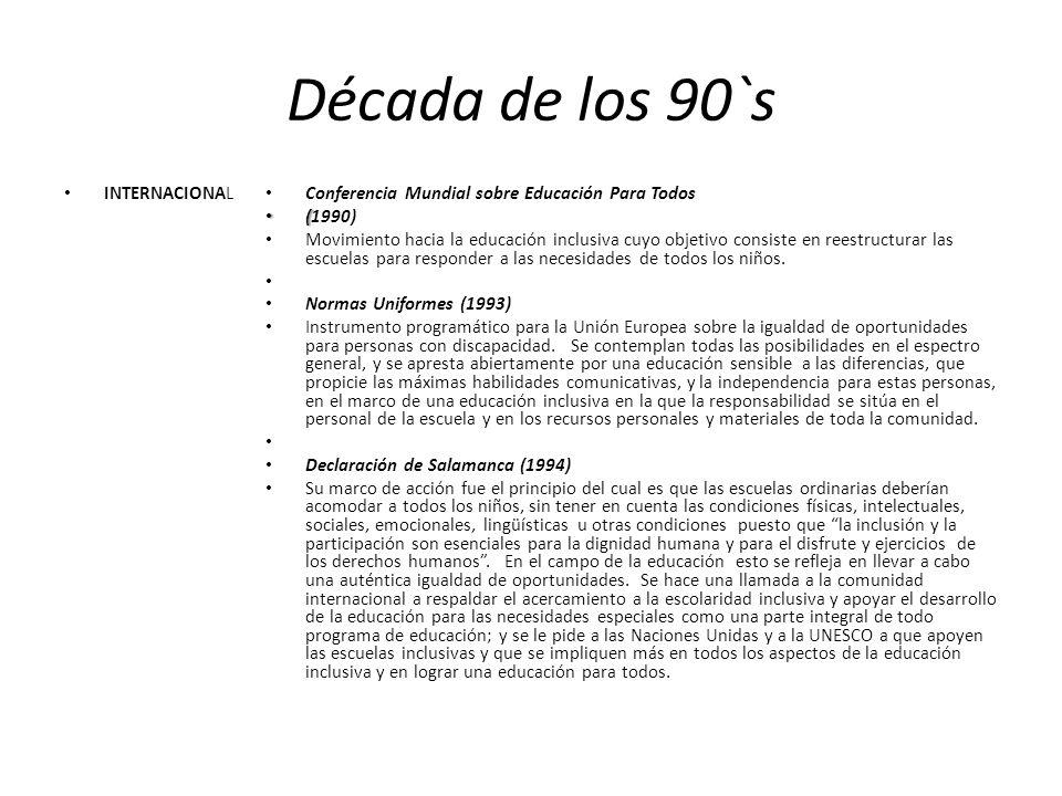 Década de los 90`s INTERNACIONAL Conferencia Mundial sobre Educación Para Todos ( (1990) Movimiento hacia la educación inclusiva cuyo objetivo consist