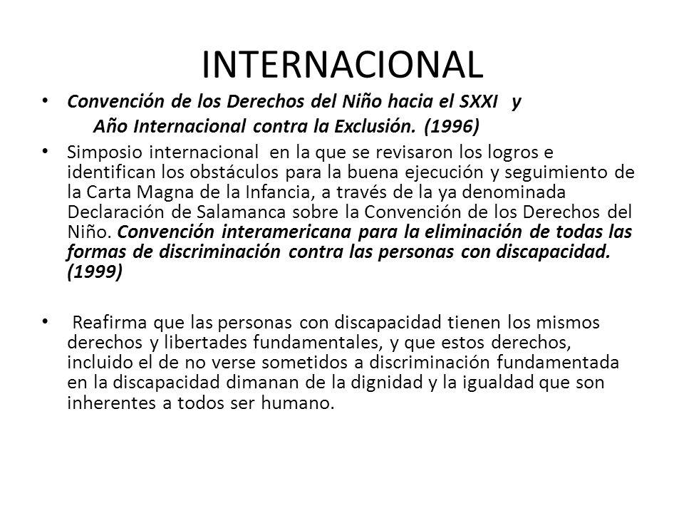 INTERNACIONAL Convención de los Derechos del Niño hacia el SXXI y Año Internacional contra la Exclusión. (1996) Simposio internacional en la que se re