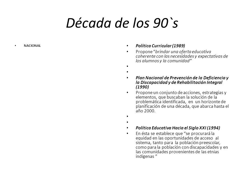 Década de los 90`s NACIONAL Política Curricular (1989) Propone brindar una oferta educativa coherente con las necesidades y expectativas de los alumno