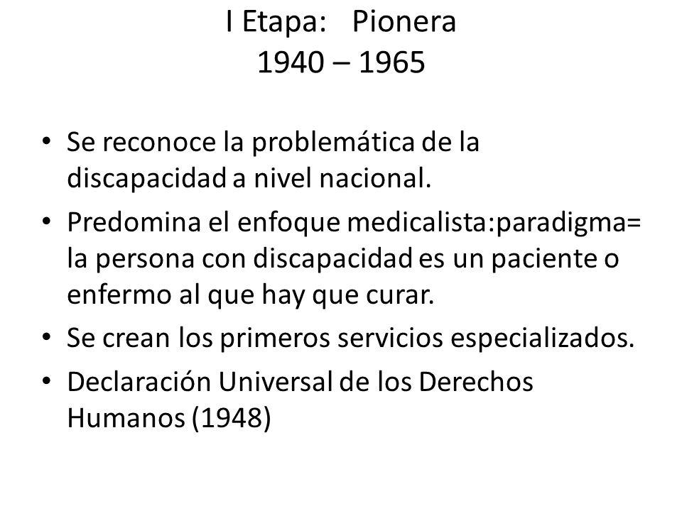 I Etapa: Pionera 1940 – 1965 Se reconoce la problemática de la discapacidad a nivel nacional. Predomina el enfoque medicalista:paradigma= la persona c
