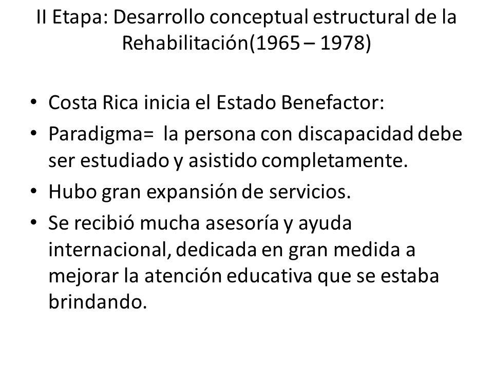 II Etapa: Desarrollo conceptual estructural de la Rehabilitación(1965 – 1978) Costa Rica inicia el Estado Benefactor: Paradigma= la persona con discap