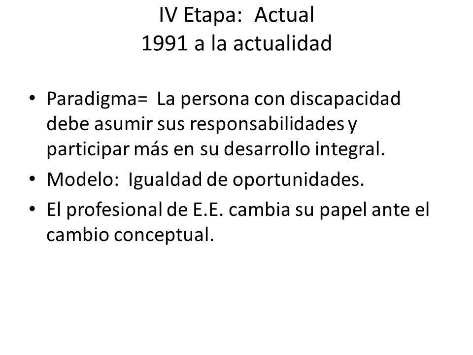 IV Etapa: Actual 1991 a la actualidad Paradigma= La persona con discapacidad debe asumir sus responsabilidades y participar más en su desarrollo integ
