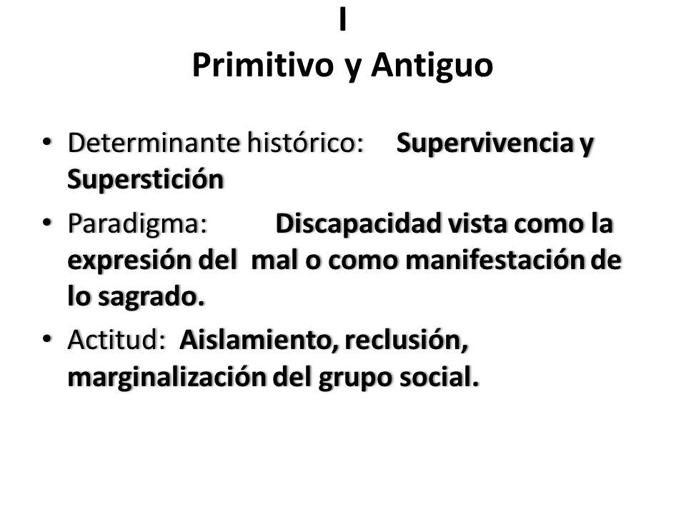 I Primitivo y Antiguo Determinante histórico: Supervivencia y Superstición Determinante histórico: Supervivencia y Superstición Paradigma: Discapacida