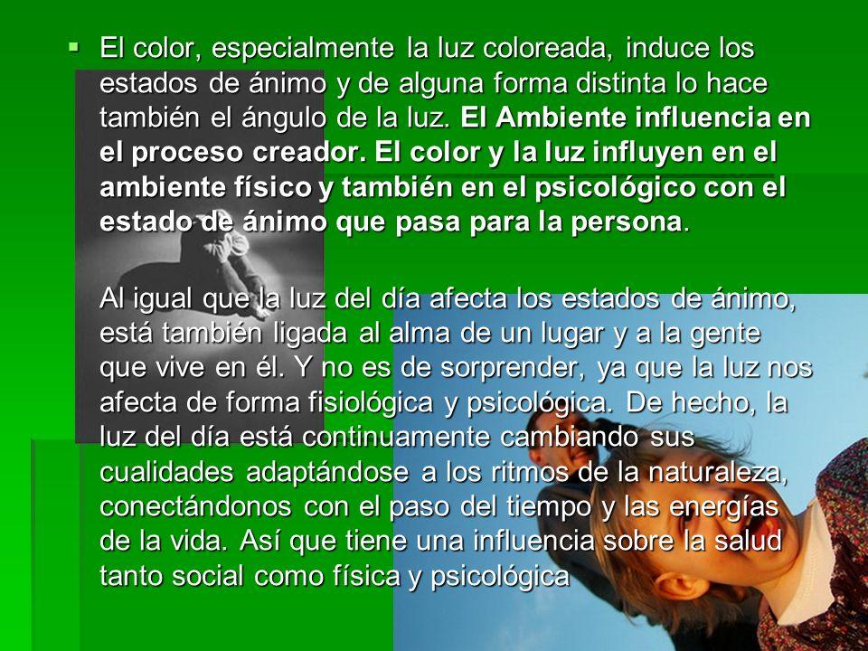 El color, especialmente la luz coloreada, induce los estados de ánimo y de alguna forma distinta lo hace también el ángulo de la luz. El Ambiente infl