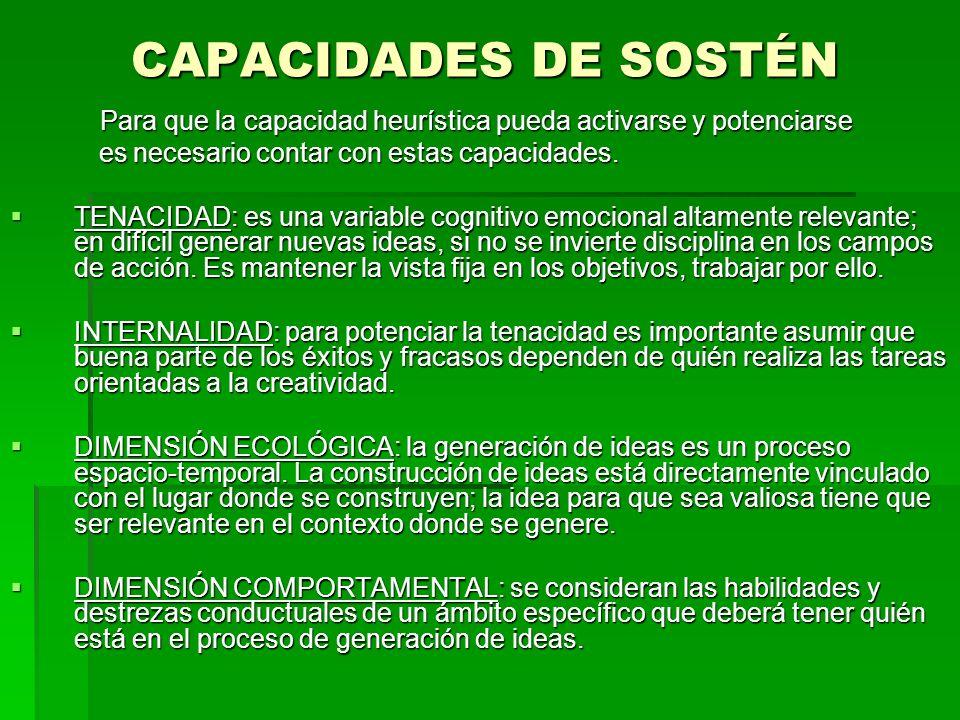 CAPACIDADES DE SOSTÉN Para que la capacidad heurística pueda activarse y potenciarse Para que la capacidad heurística pueda activarse y potenciarse es