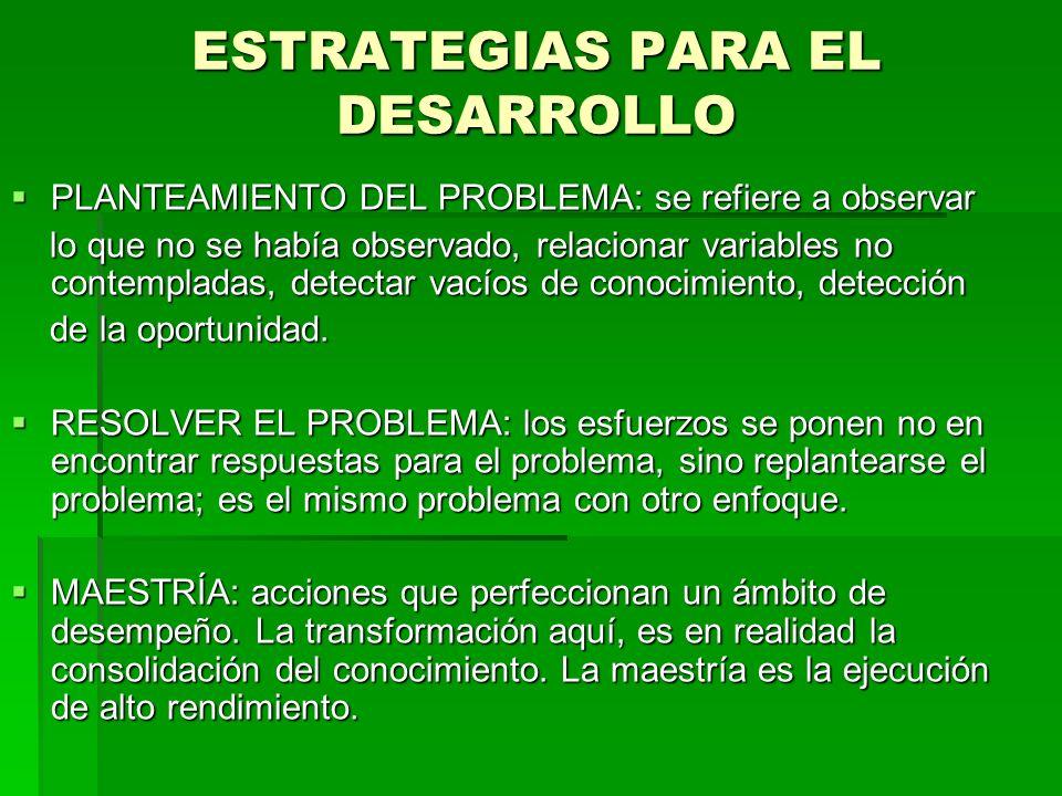 ESTRATEGIAS PARA EL DESARROLLO PLANTEAMIENTO DEL PROBLEMA: se refiere a observar PLANTEAMIENTO DEL PROBLEMA: se refiere a observar lo que no se había
