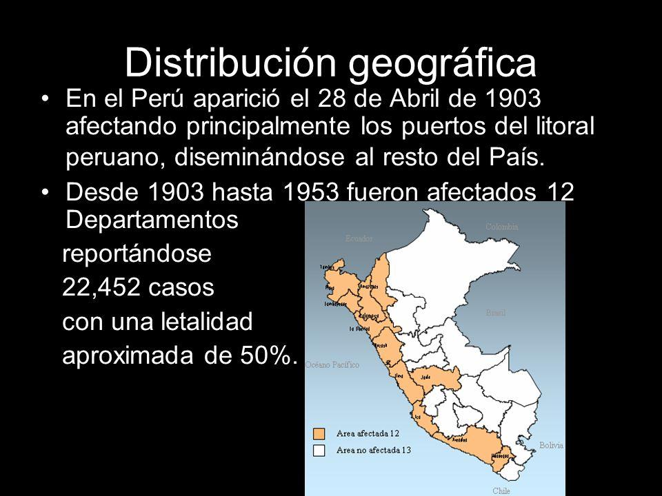 Distribución geográfica En el Perú aparició el 28 de Abril de 1903 afectando principalmente los puertos del litoral peruano, diseminándose al resto de