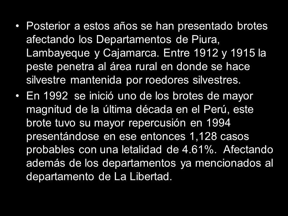 Posterior a estos años se han presentado brotes afectando los Departamentos de Piura, Lambayeque y Cajamarca. Entre 1912 y 1915 la peste penetra al ár