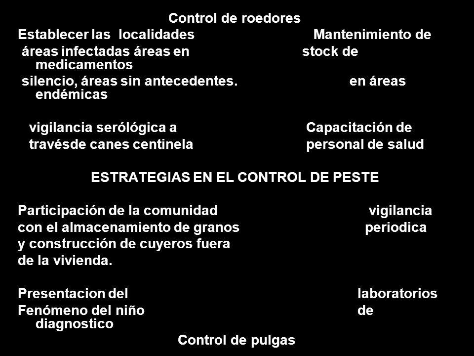 Control de roedores Establecer las localidades Mantenimiento de áreas infectadas áreas en stock de medicamentos silencio, áreas sin antecedentes. en á