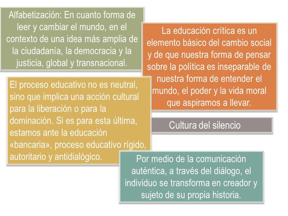 Cultura del silencio Alfabetización: En cuanto forma de leer y cambiar el mundo, en el contexto de una idea más amplia de la ciudadanía, la democracia