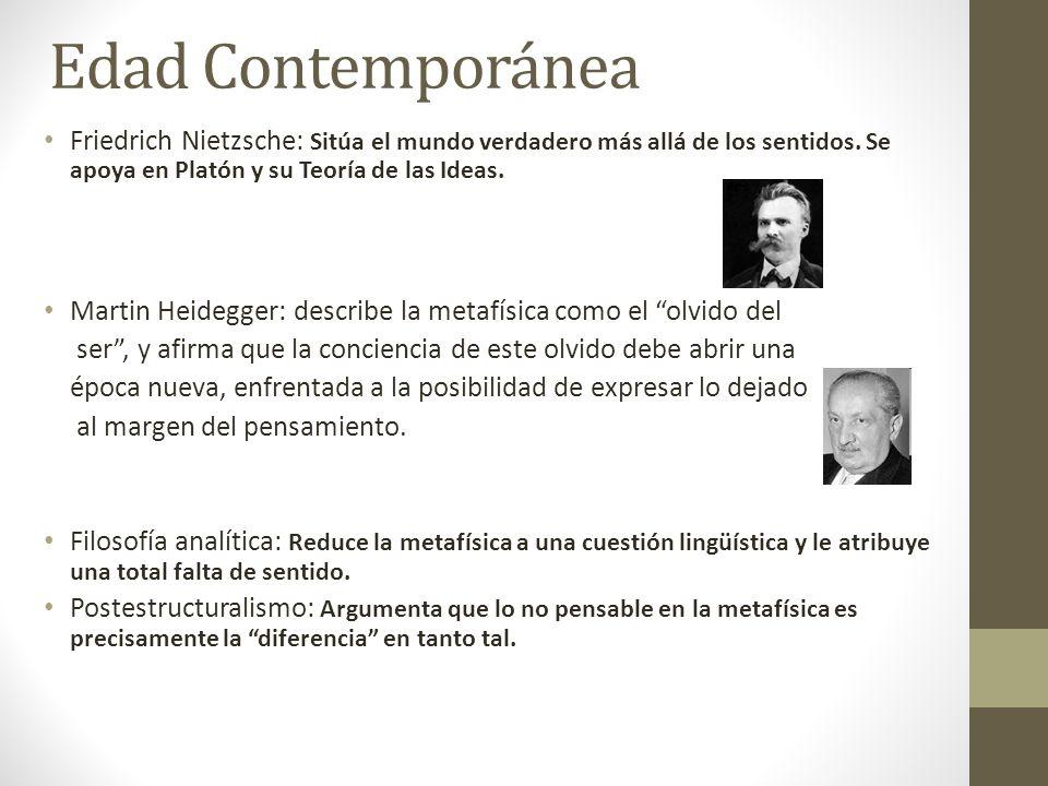 Edad Contemporánea Friedrich Nietzsche: Sitúa el mundo verdadero más allá de los sentidos. Se apoya en Platón y su Teoría de las Ideas. Martin Heidegg