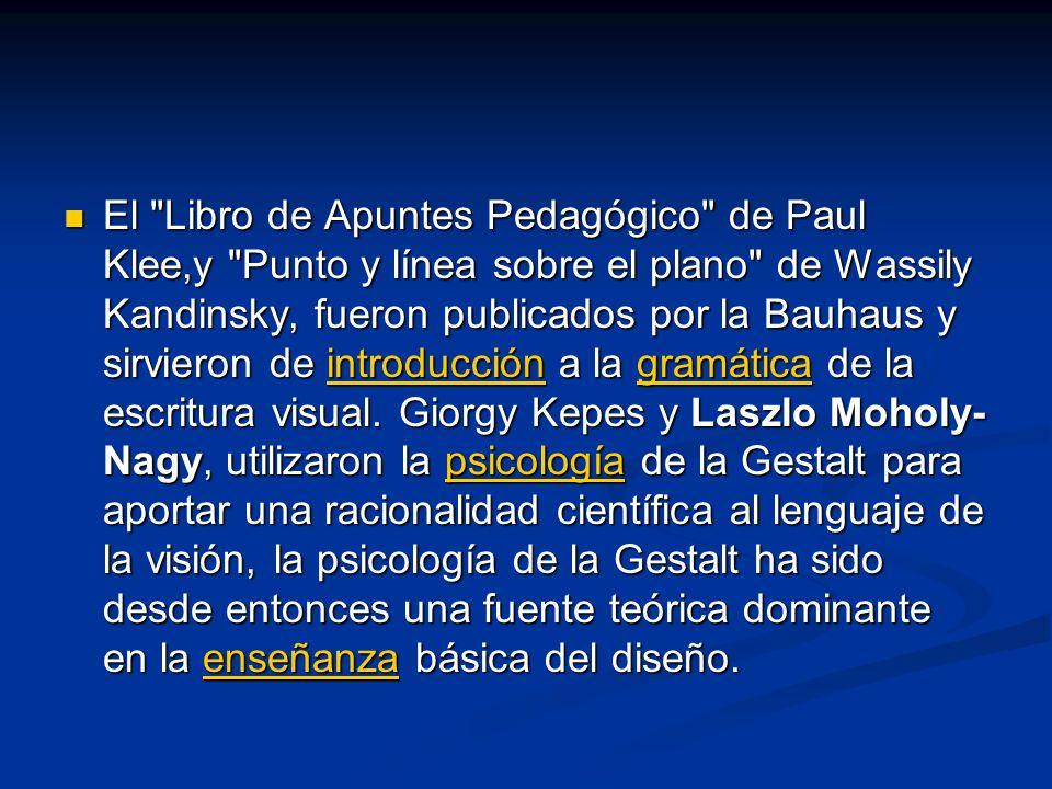 El Libro de Apuntes Pedagógico de Paul Klee,y Punto y línea sobre el plano de Wassily Kandinsky, fueron publicados por la Bauhaus y sirvieron de introducción a la gramática de la escritura visual.