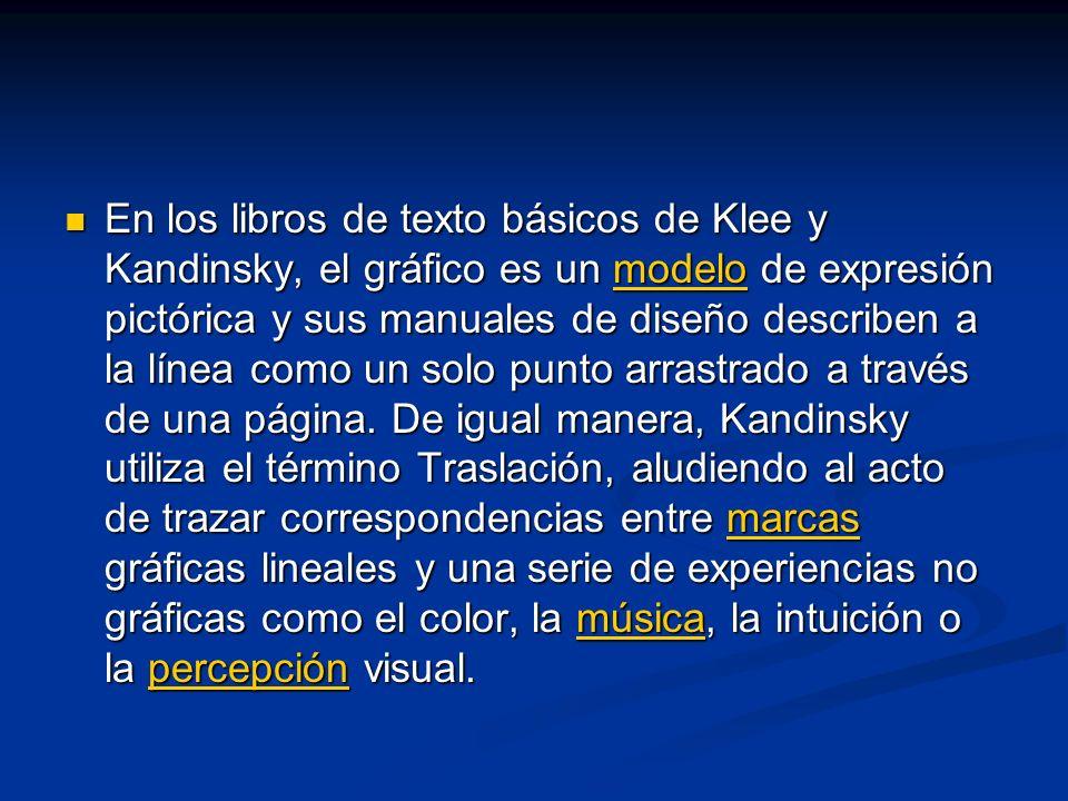 En los libros de texto básicos de Klee y Kandinsky, el gráfico es un modelo de expresión pictórica y sus manuales de diseño describen a la línea como un solo punto arrastrado a través de una página.