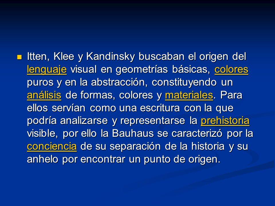 Itten, Klee y Kandinsky buscaban el origen del lenguaje visual en geometrías básicas, colores puros y en la abstracción, constituyendo un análisis de formas, colores y materiales.