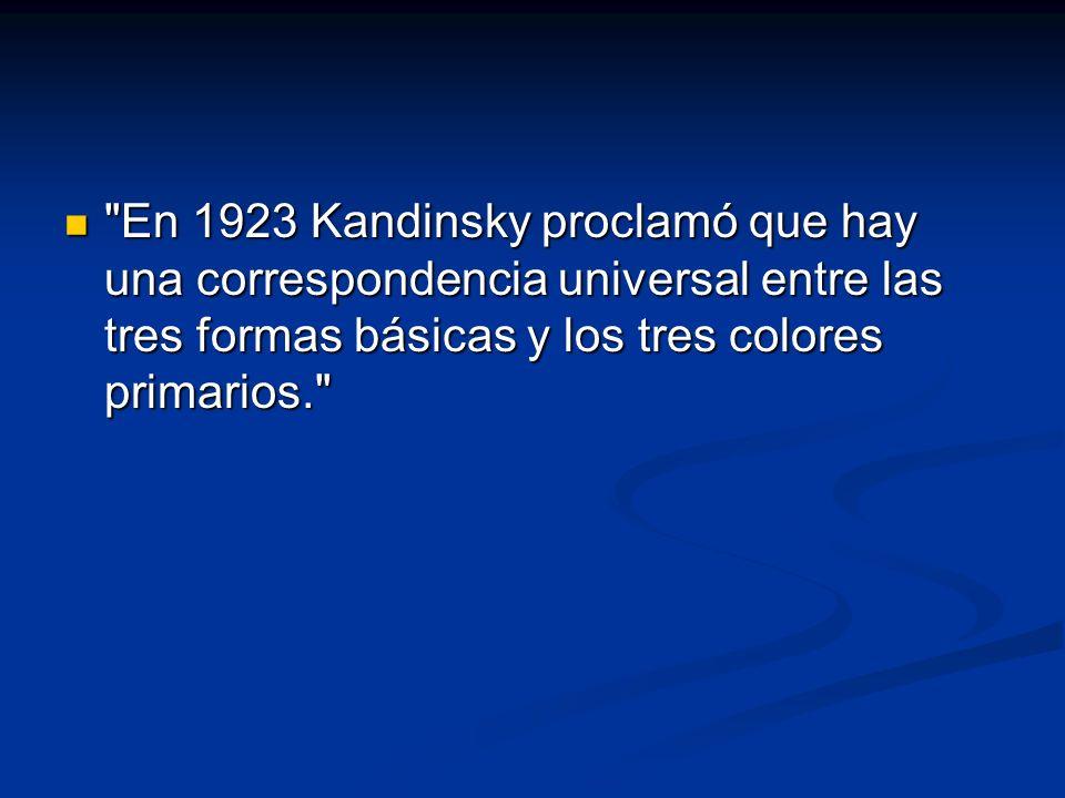En 1923 Kandinsky proclamó que hay una correspondencia universal entre las tres formas básicas y los tres colores primarios. En 1923 Kandinsky proclamó que hay una correspondencia universal entre las tres formas básicas y los tres colores primarios.