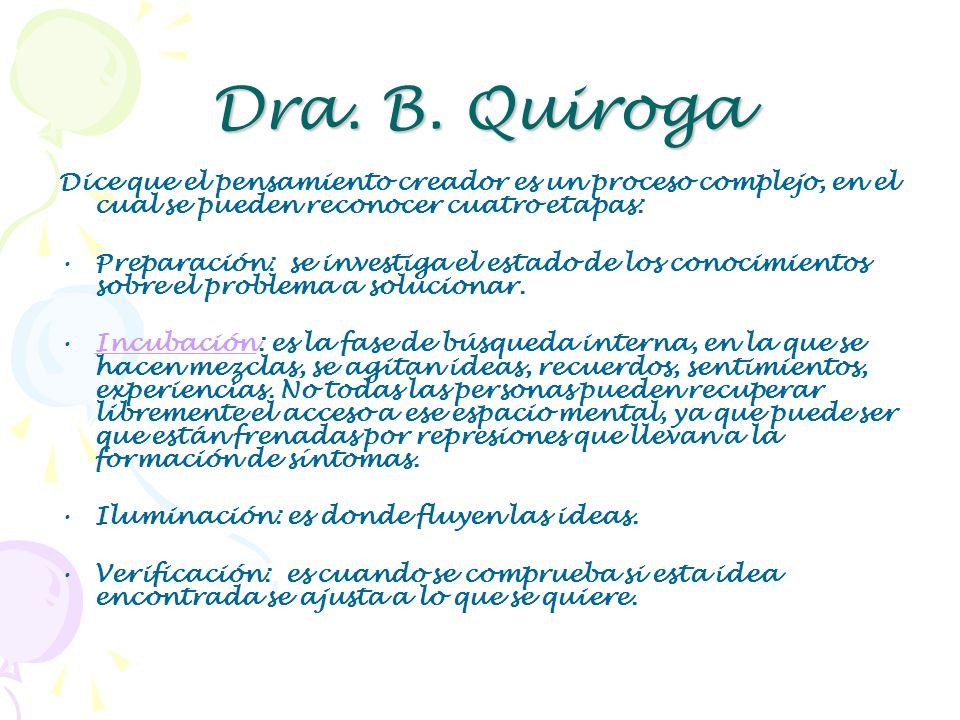 Dra. B. Quiroga Dice que el pensamiento creador es un proceso complejo, en el cual se pueden reconocer cuatro etapas: Preparación: se investiga el est