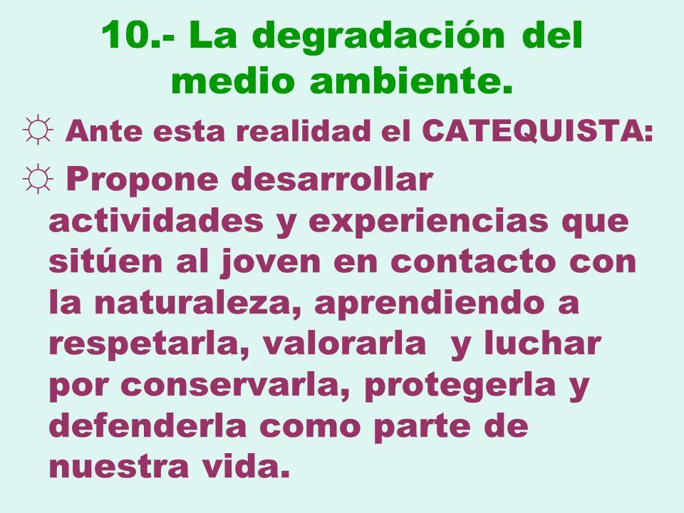 10.- La degradación del medio ambiente. Ante esta realidad el CATEQUISTA: Propone desarrollar actividades y experiencias que sitúen al joven en contac