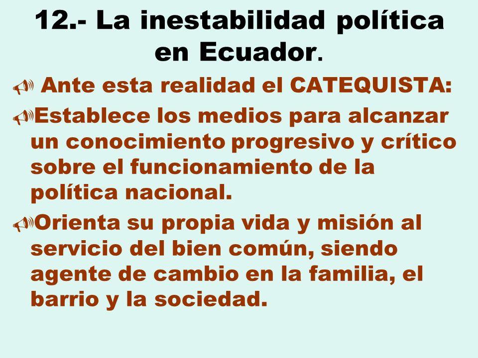12.- La inestabilidad política en Ecuador. Ante esta realidad el CATEQUISTA: Establece los medios para alcanzar un conocimiento progresivo y crítico s