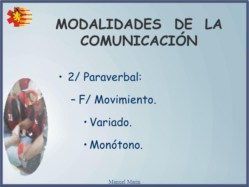 Manuel Marín MODALIDADES DE LA COMUNICACIÓN 2/ Paraverbal: –F/ Movimiento. Variado. Monótono.