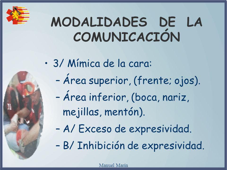 Manuel Marín MODALIDADES DE LA COMUNICACIÓN 3/ Mímica de la cara: –Área superior, (frente; ojos). –Área inferior, (boca, nariz, mejillas, mentón). –A/