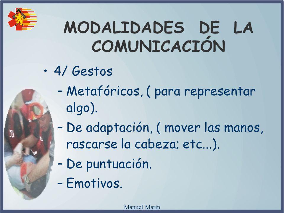 Manuel Marín MODALIDADES DE LA COMUNICACIÓN 4/ Gestos –Metafóricos, ( para representar algo). –De adaptación, ( mover las manos, rascarse la cabeza; e