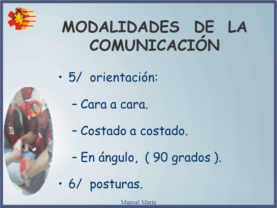 Manuel Marín MODALIDADES DE LA COMUNICACIÓN 5/ orientación: –Cara a cara. –Costado a costado. –En ángulo, ( 90 grados ). 6/ posturas.