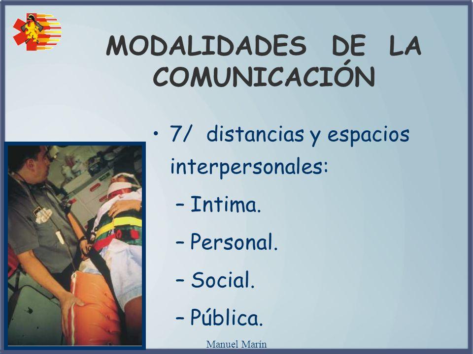 Manuel Marín MODALIDADES DE LA COMUNICACIÓN 7/ distancias y espacios interpersonales: –Intima. –Personal. –Social. –Pública.