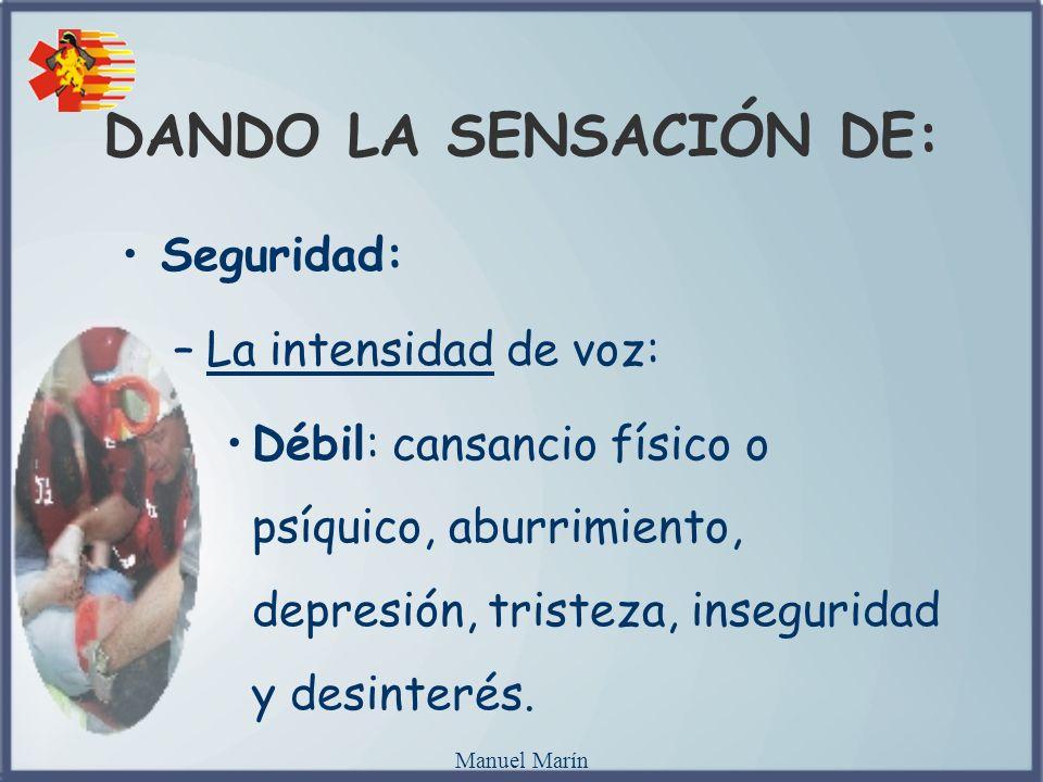 Manuel Marín Seguridad: –La intensidad de voz: Débil: cansancio físico o psíquico, aburrimiento, depresión, tristeza, inseguridad y desinterés. DANDO