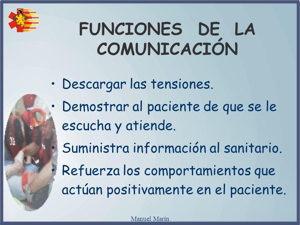 Manuel Marín FUNCIONES DE LA COMUNICACIÓN Descargar las tensiones. Demostrar al paciente de que se le escucha y atiende. Suministra información al san