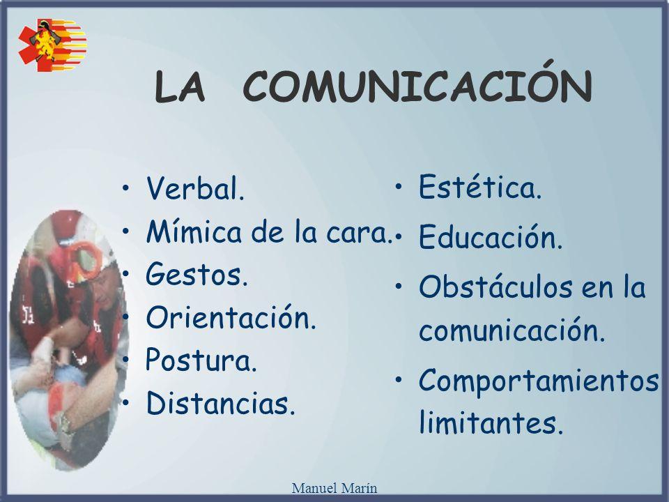 Manuel Marín LA COMUNICACIÓN Verbal. Mímica de la cara. Gestos. Orientación. Postura. Distancias. Estética. Educación. Obstáculos en la comunicación.