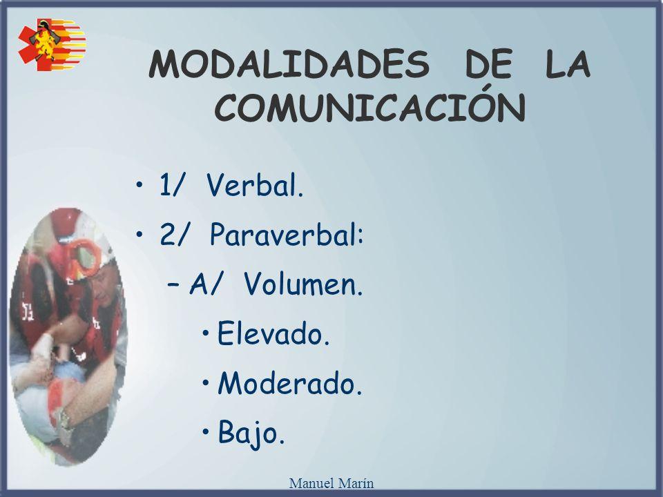 Manuel Marín MODALIDADES DE LA COMUNICACIÓN 1/ Verbal. 2/ Paraverbal: –A/ Volumen. Elevado. Moderado. Bajo.