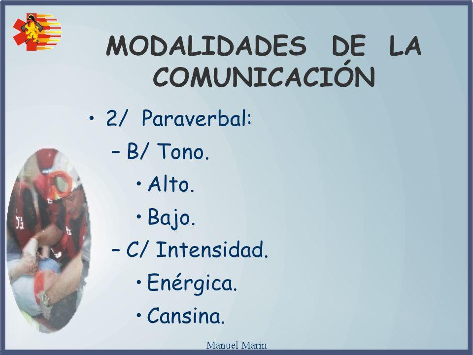Manuel Marín MODALIDADES DE LA COMUNICACIÓN 2/ Paraverbal: –B/ Tono. Alto. Bajo. –C/ Intensidad. Enérgica. Cansina.
