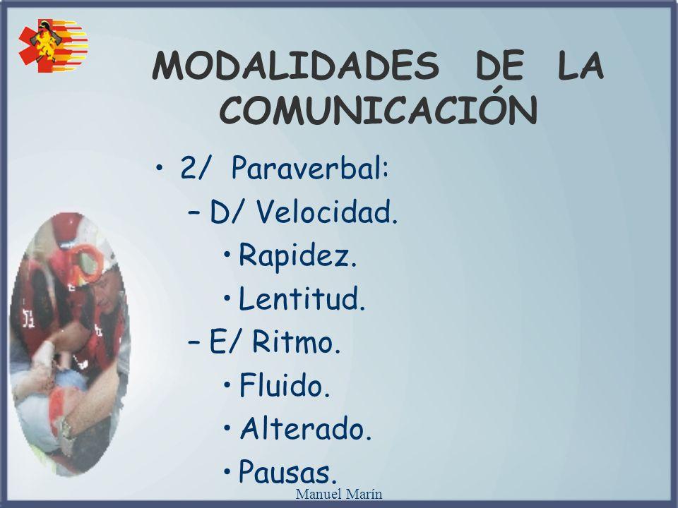Manuel Marín MODALIDADES DE LA COMUNICACIÓN 2/ Paraverbal: –D/ Velocidad. Rapidez. Lentitud. –E/ Ritmo. Fluido. Alterado. Pausas.