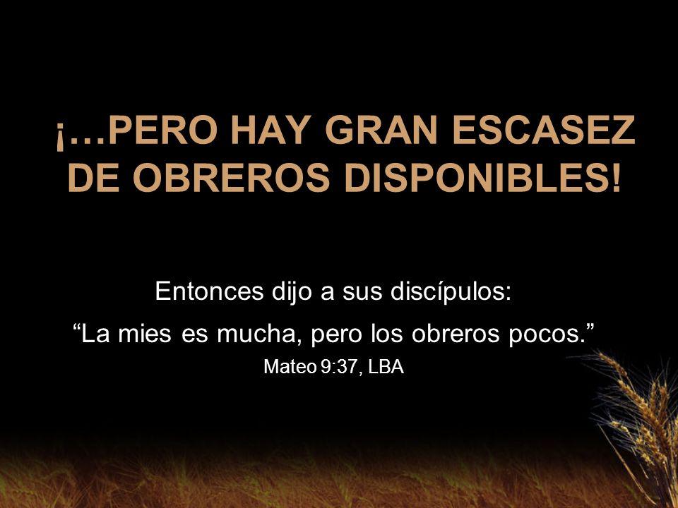 ¡…PERO HAY GRAN ESCASEZ DE OBREROS DISPONIBLES! Entonces dijo a sus discípulos: La mies es mucha, pero los obreros pocos. Mateo 9:37, LBA