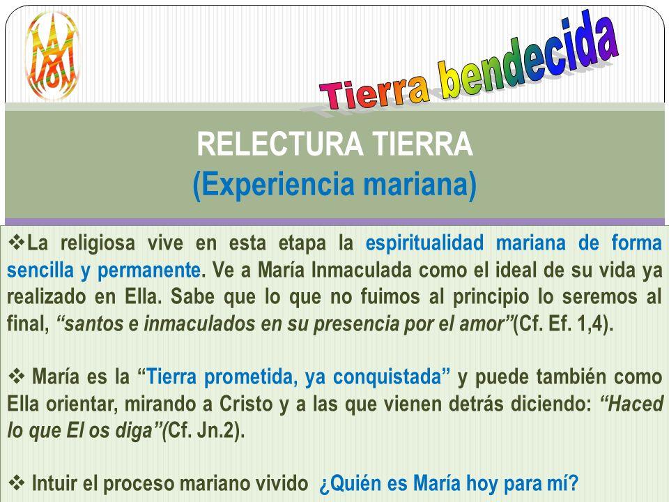RELECTURA TIERRA (Experiencia mariana) La religiosa vive en esta etapa la espiritualidad mariana de forma sencilla y permanente. Ve a María Inmaculada