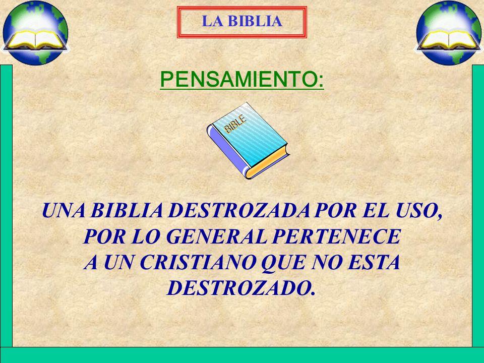 LA BIBLIA PENSAMIENTO: UNA BIBLIA DESTROZADA POR EL USO, POR LO GENERAL PERTENECE A UN CRISTIANO QUE NO ESTA DESTROZADO.