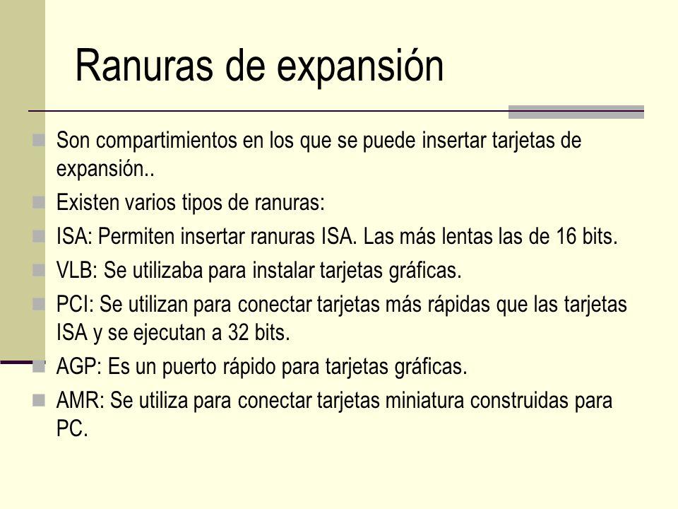 Ranuras de expansión Son compartimientos en los que se puede insertar tarjetas de expansión.. Existen varios tipos de ranuras: ISA: Permiten insertar