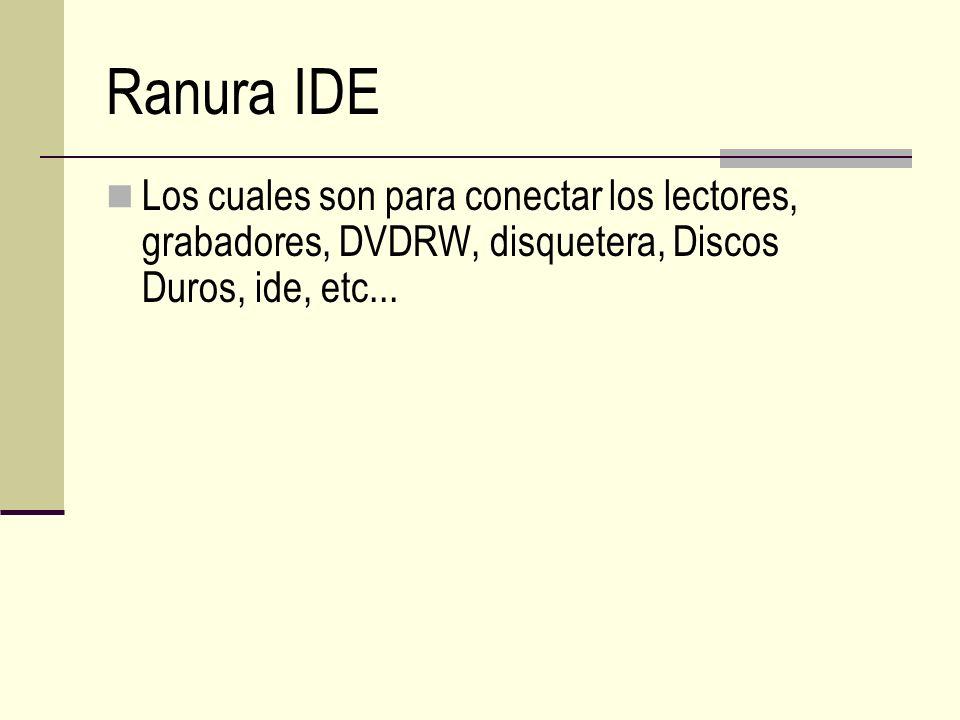 Ranura IDE Los cuales son para conectar los lectores, grabadores, DVDRW, disquetera, Discos Duros, ide, etc...