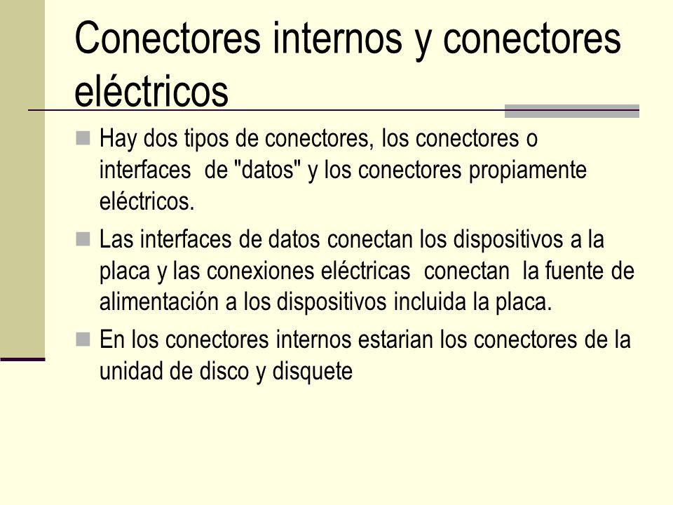 Conectores internos y conectores eléctricos Hay dos tipos de conectores, los conectores o interfaces de