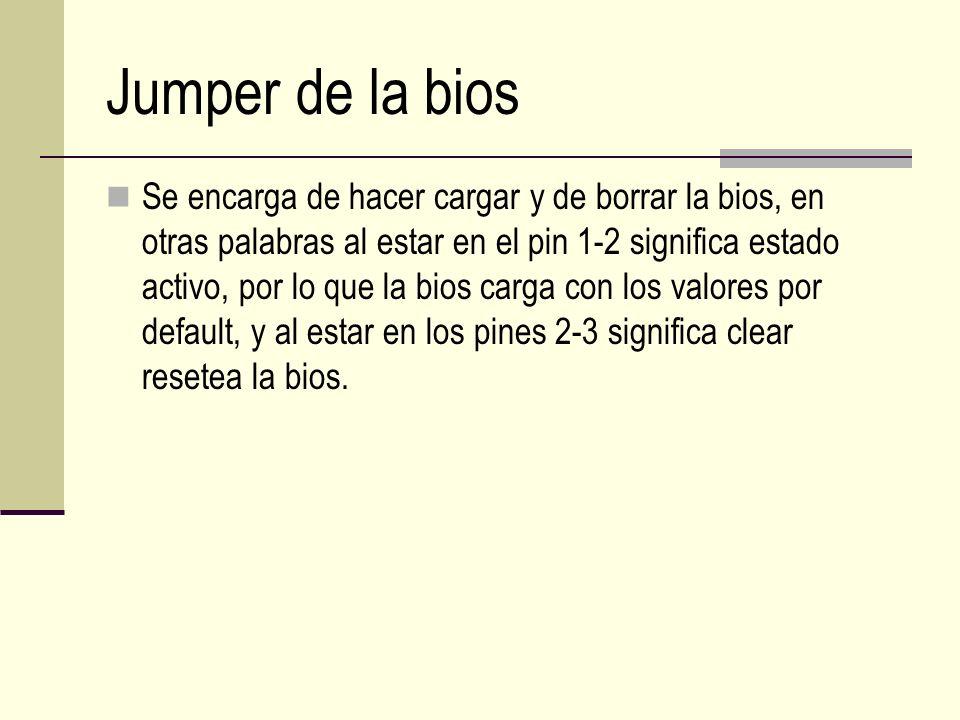 Jumper de la bios Se encarga de hacer cargar y de borrar la bios, en otras palabras al estar en el pin 1-2 significa estado activo, por lo que la bios