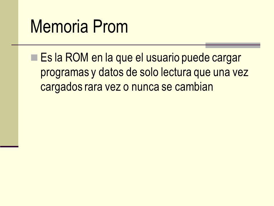 Memoria Prom Es la ROM en la que el usuario puede cargar programas y datos de solo lectura que una vez cargados rara vez o nunca se cambian