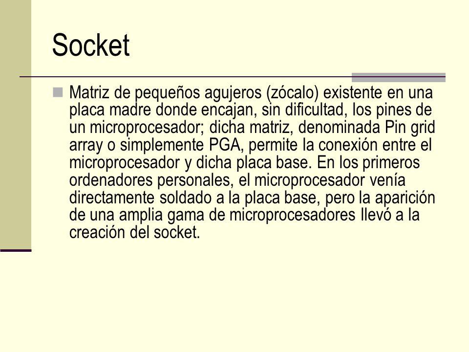 Socket Matriz de pequeños agujeros (zócalo) existente en una placa madre donde encajan, sin dificultad, los pines de un microprocesador; dicha matriz,