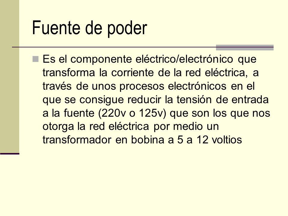 Fuente de poder Es el componente eléctrico/electrónico que transforma la corriente de la red eléctrica, a través de unos procesos electrónicos en el q