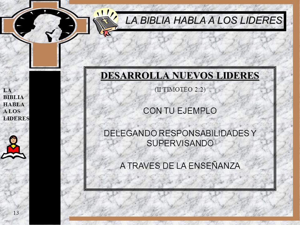 DESARROLLA NUEVOS LIDERES (II TIMOTEO 2:2) CON TU EJEMPLO DELEGANDO RESPONSABILIDADES Y SUPERVISANDO A TRAVES DE LA ENSEÑANZA 13 LA BIBLIA HABLA A LOS