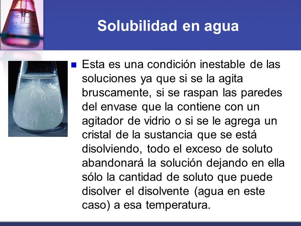 Solubilidad en agua Esta es una condición inestable de las soluciones ya que si se la agita bruscamente, si se raspan las paredes del envase que la co