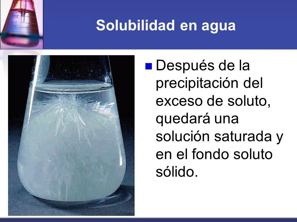 Solubilidad en agua Después de la precipitación del exceso de soluto, quedará una solución saturada y en el fondo soluto sólido.