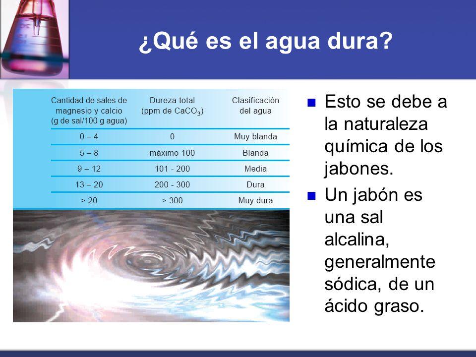 ¿Qué es el agua dura? Esto se debe a la naturaleza química de los jabones. Un jabón es una sal alcalina, generalmente sódica, de un ácido graso.