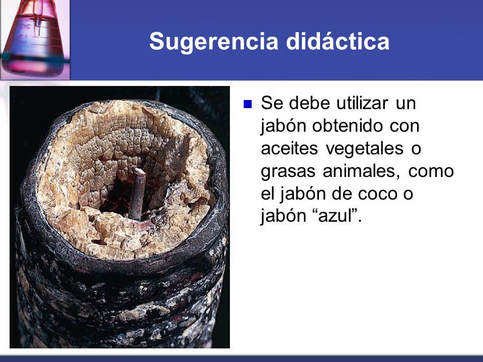 Sugerencia didáctica Se debe utilizar un jabón obtenido con aceites vegetales o grasas animales, como el jabón de coco o jabón azul.